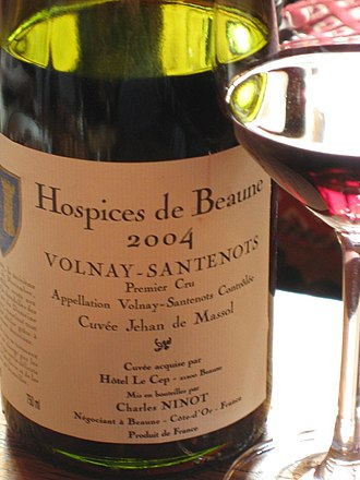 Volnay wine - A bottle of Volnay-Santenots from the Hospices de Beaune.