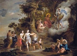 Arnold Houbraken - Pallas Athene Visiting Apollo on the Parnassus (1703)
