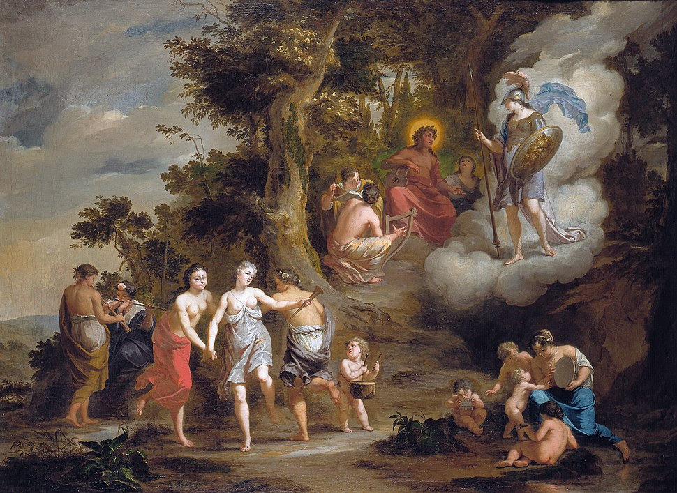 Houbraken, Arnold - Pallas Athene Visiting Apollo on the Parnassus - 1703.jpeg