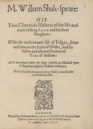 1608 quarto of King Lear.