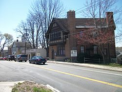 The historic former Huntington Sewing & Trade School, now the headquarters of the Huntington Historical Society.