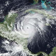 Satellite image of Hurricane Mitch in the western Caribbean Sea, a very intense Category 5 hurricane