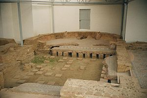 History of coal mining - Ruins of the hypocaust under the floor of a Roman villa. The part under the exedra is covered.