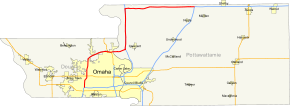 I-680 is an outer bypass of downtown Omaha, Nebraska, and Council Bluffs, Iowa.