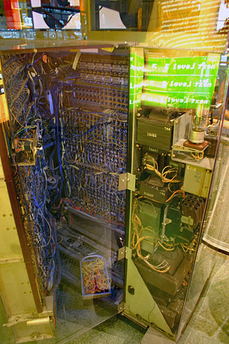 IBM 604 - IBM 604 Electronic Calculator at NEMO national science museum in Amsterdam. Note plugboard control panel used to program the 604, at bottom.