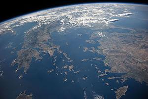 Vista satélite del Mar Egeo