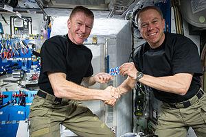 Tim Peake -  Peake celebrating 100 days in space with Expedition 47 Commander Tim Kopra