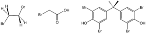Organobromine compound - Structure of three industrially significant organobromine compounds. From left: ethylene bromide, bromoacetic acid, and tetrabromobisphenol-A.