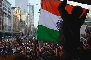 Violence against Indians in Australia controversy - Indian students protesting on 31 May 2009, in Melbourne, blocking Swanston and Flinders Streets