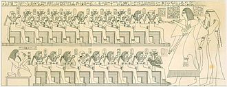 Ahmose-Meritamun -  Scene from the tomb of Inherkau dating to the Twentieth dynasty of Egypt. Top row, right to left: Amenhotep I, Ahmose I, Ahhotep I, Ahmose-Meritamun, Sitamun, Siamun?, Ahmose-Henuttamehu, Ahmose-Tumerisy, Ahmose-Nebetta, Ahmose Sapair. Bottom row, right to left: Ahmose-Nefertari, Ramesses I, Mentuhotep II, Amenhotep II, Seqenenre Tao, Ramose?, Ramesses IV, ?, Tuthmosis I.