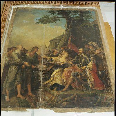 Interieur, schilderij voor restauratie in de oranjerie - Leersum - 20429341 - RCE