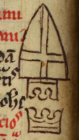 Inverted arms of Jerusalem indicating the death of Henry I, king of Jerusalem.png