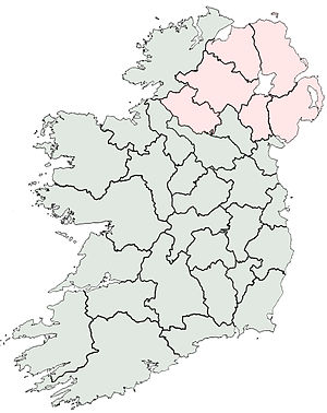 A map with the counties of Ireland outlined.