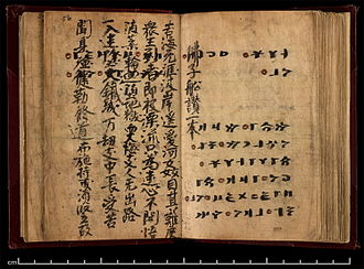 Irk Bitig - Last two pages of the main text of Irk Bitig (folios 55b and 56a), partially overwritten with Buddhist verses in Chinese.
