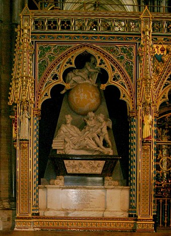 Newton's tomb monument in Westminster Abbey Isaac Newton grave in Westminster Abbey.jpg