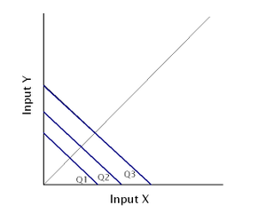 Isoquant - A) Example of an isoquant map with two inputs that are perfect substitutes.