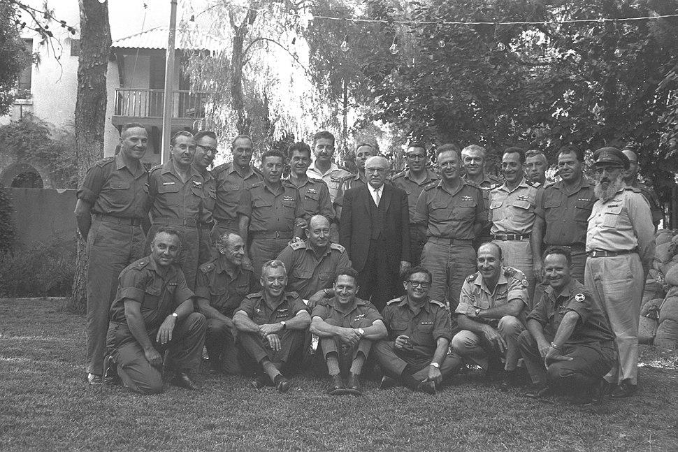 Israeli officers with president Zalman Shazar at Beit Hanassi in Jerusalem. June 1967. D60-019