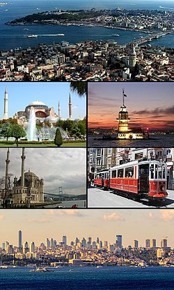 Clockwise frae tap: View o Gowden Horn atween Galata an Seraglio Pynt includin the historic auries; Maiden's Touer; a nostalgic tram on İstiklal Avenue; Levent business destrict wi Dolmabahçe Palace; Ortaköy Mosque in front o the Bosphorus Brig; an Hagia Sophia.