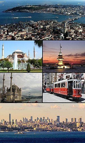 Istanbul - Clockwise from top: View of the Golden Horn between Karaköy and Sarayburnu within the historic areas; Maiden's Tower; a nostalgic tram on İstiklal Avenue; Levent business district with Dolmabahçe Palace; Ortaköy Mosque in front of the Bosphorus Bridge; and Hagia Sophia.