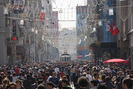 Istiklal Avenue is visited by nearly three million people on weekend days. Istiklal busy afternoon.JPG