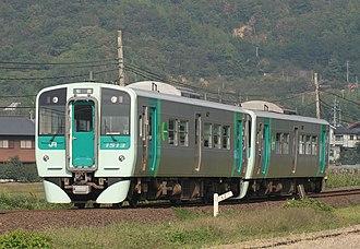 JR Shikoku 1500 series - Car 1513 leading a 2-car formation, October 2008