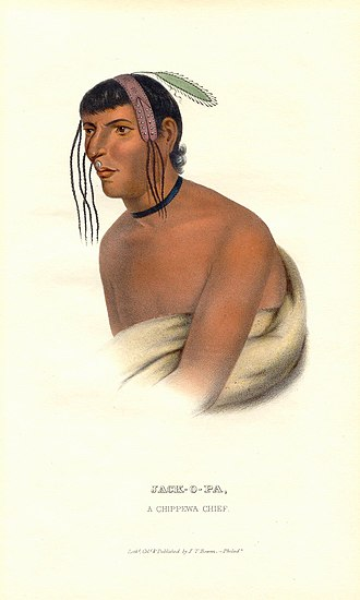 "Shakopee Mdewakanton Sioux Community - Jack-O-Pa (Shák'pí/""Six""), an Ojibwa/Dakota chief, from Henry Rowe Schoolcraft's History of the Indian Tribes of North America, illustrated by Seth Eastman."