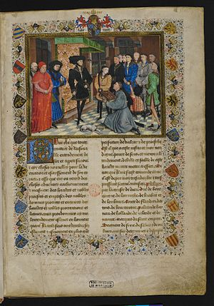 Jean Wauquelin presenting his 'Chroniques de Hainaut' to Philip the Good - Image: Jacques de Guise, Chroniques de Hainaut, frontispiece, KBR 9242