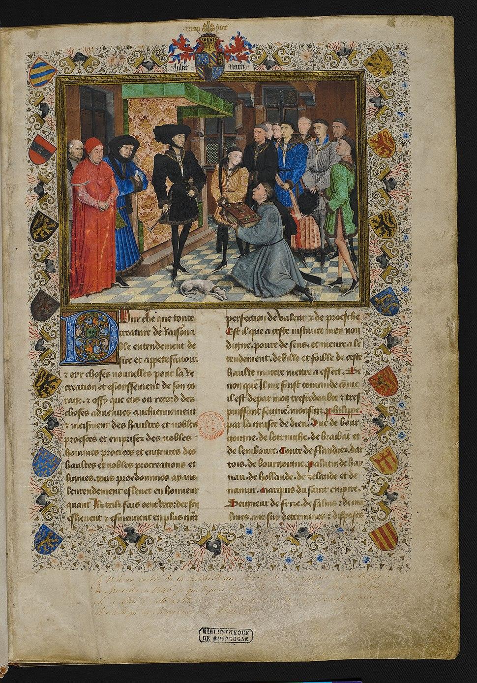 Jacques de Guise, Chroniques de Hainaut, frontispiece, KBR 9242
