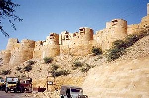 Defensive wall - The city walls of Jaisalmer, India, also known as Jaisalmer Fort due to its size and complexity in comparison to other city walls. It is a UNESCO World Heritage Site and is considered one of the largest and best preserved city walls, along with its Medieval Indian town, where many of the stone-carved buildings have not changed since the 12th century.