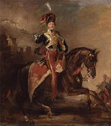 painting of man wearing British 19th century cavalry uniform astride a black horse