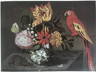 Vase of Flowers with a Mouse and a Parrot