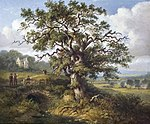 Painting of the Wallace Oak in Elderslie