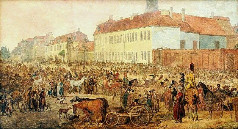 File:Jean-Pierre Norblin - Królewska Street horse market.jpg