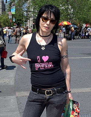 Joan Jett in New York City's Union Square. Pho...