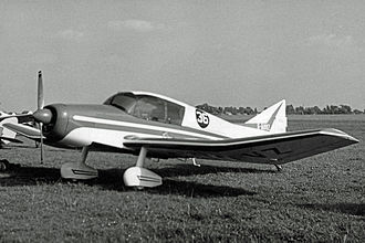 SAN Jodel D.140 Mousquetaire - Early Jodel D.140 with the initial lower triangular fin shape at Cranfield aerodrome in 1960