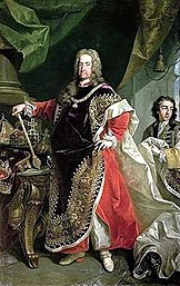 Emperor Charles VI.  in regalia as Grand Master of the Order of the Golden Fleece, painting by Johann Gottfried Auerbach