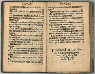 Colophon (publishing) - The colophon of John Fortescue's A Learned Commendation of the Politique Lawes of Englande (1567), which appears at the end of the book