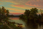 John Frederick Kensett, Sunset with Cows, 1856. Oil on canvas, Emily Dickinson Museum.jpg