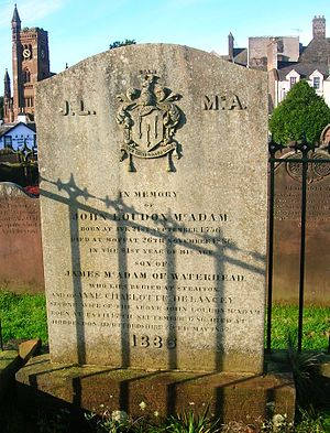 John Loudon McAdam - Memorial stone to John Loudon McAdam.