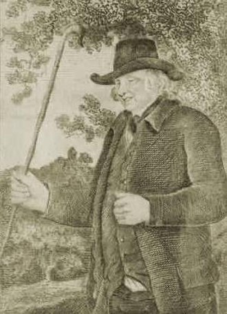 History of road transport - John Metcalf, also known as Blind Jack of Knaresborough. Drawn by J R Smith in The Life of John Metcalf published 1801.