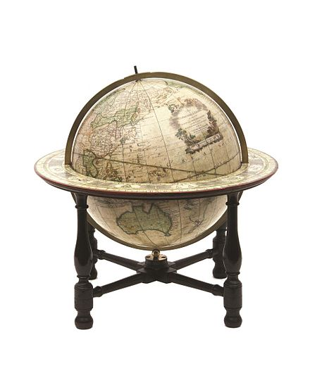 A terrestrial globe on which the tracts and discoveries are laid down from the accurate observations made by Capts Cook, Furneux, Phipps, published 1782 / globe by John Newton; cartography by William Palmer, held by the State Library of New South Wales John Newton and William Palmer SLNSW globe 1782.jpg