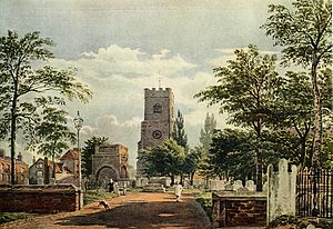 John Varley (painter) - Hackney Church by John Varley