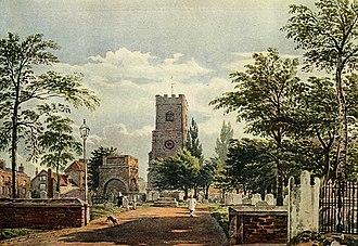 John Varley (painter) - Hackney Church by John Varley