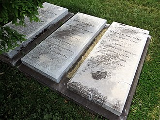 Johns Hopkins -  Gravestone (center) in Green Mount Cemetery
