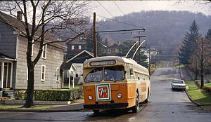 Johnstown Traction Company - JTC trolley bus 705 on the final day of trolley bus service in Johnstown, November 11, 1967.