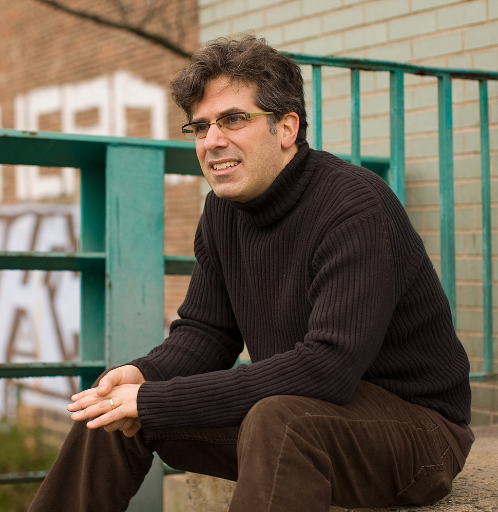 Jonathan Lethem on the banks of the Gowanus Canal in Brooklyn, NY