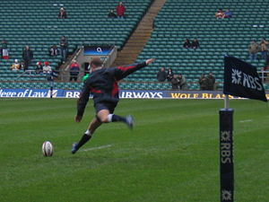 Jonny Wilkinson practising his conversions before England vs. Italy on 2nd October 2007.