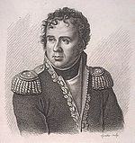 Portrait of a curly-haired man wearing a uniform with epaulettes.
