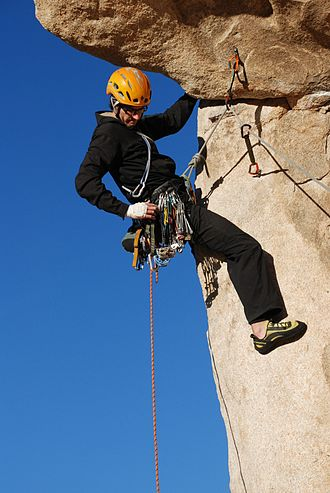 Traditional climbing - Some classic trad routes, like North Overhang (5.9) on Intersection Rock in Joshua Tree National Park, use bolts to protect parts of the climb. Traditional climbing gear is still required for the other parts.