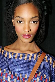 Jourdan Dunn backstage at the Anna Sui fashion show.